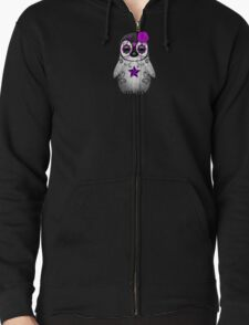 Purple Day of the Dead Sugar Skull Penguin  Zipped Hoodie