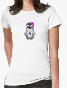 Purple Day of the Dead Sugar Skull Penguin  Womens Fitted T-Shirt