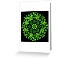 letter a-e circle pattern coloured green Greeting Card