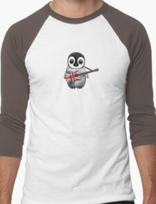 Baby Penguin Playing British Flag Guitar Men's Baseball ¾ T-Shirt