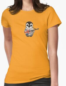 Baby Penguin Playing British Flag Guitar Womens Fitted T-Shirt