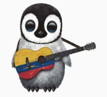Baby Penguin Playing Colombian Flag Guitar Kids Tee