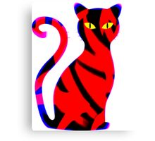 Sly Cat Red Canvas Print