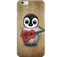 Baby Penguin Playing Albanian Flag Guitar iPhone Case/Skin
