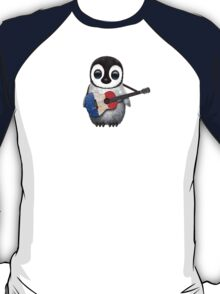 Baby Penguin Playing French Flag Guitar T-Shirt