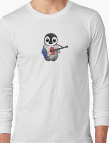 Baby Penguin Playing French Flag Guitar Long Sleeve T-Shirt