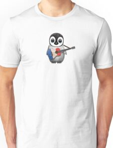 Baby Penguin Playing French Flag Guitar Unisex T-Shirt