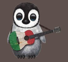 Baby Penguin Playing Italian Flag Guitar One Piece - Short Sleeve