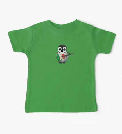 Baby Penguin Playing Italian Flag Guitar Baby Tee