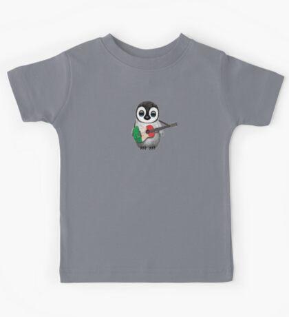 Baby Penguin Playing Italian Flag Guitar Kids Tee