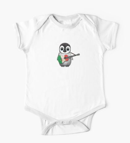 Baby Penguin Playing Italian Flag Guitar One Piece - Short Sleeve