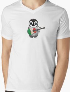 Baby Penguin Playing Italian Flag Guitar Mens V-Neck T-Shirt