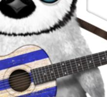 Baby Penguin Playing Greek Flag Guitar Sticker
