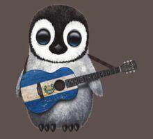 Baby Penguin Playing El Salvador Flag Guitar Kids Clothes