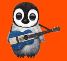 Baby Penguin Playing El Salvador Flag Guitar Kids Clothes