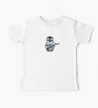 Baby Penguin Playing El Salvador Flag Guitar Baby Tee