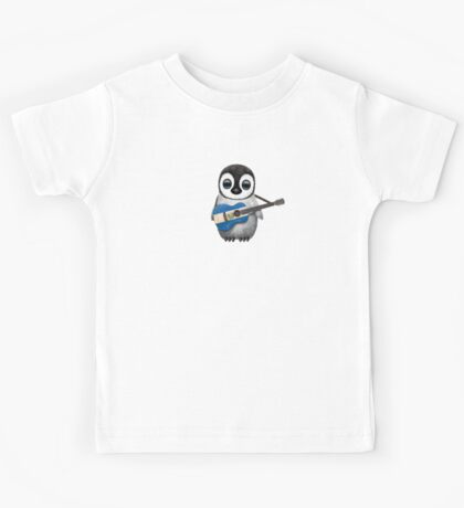 Baby Penguin Playing El Salvador Flag Guitar Kids Tee