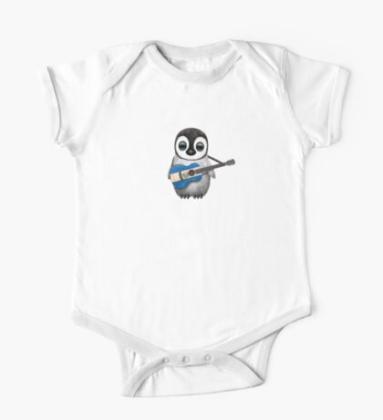 Baby Penguin Playing El Salvador Flag Guitar One Piece - Short Sleeve