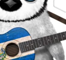 Baby Penguin Playing El Salvador Flag Guitar Sticker