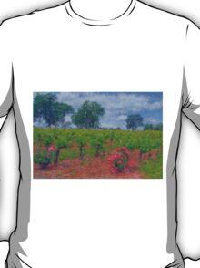 Vineyard Roses in a Van Gogh Landscape T-Shirt