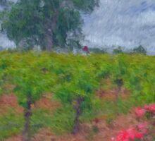 Vineyard Roses in a Van Gogh Landscape Sticker