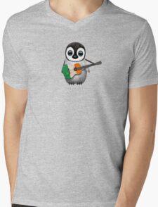 Baby Penguin Playing Irish Flag Guitar Mens V-Neck T-Shirt
