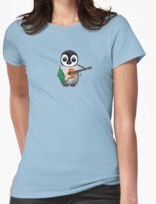 Baby Penguin Playing Irish Flag Guitar Womens Fitted T-Shirt