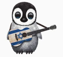 Baby Penguin Playing Israeli Flag Guitar One Piece - Short Sleeve