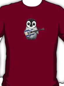 Baby Penguin Playing Israeli Flag Guitar T-Shirt