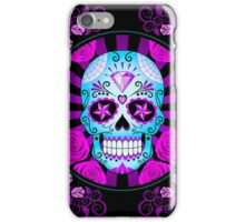 Blue and Purple Sugar Skull with Roses  iPhone Case/Skin