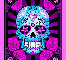 Blue and Purple Sugar Skull with Roses  by Jeff Bartels