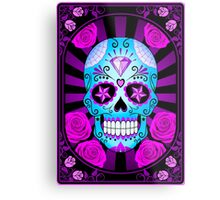 Blue and Purple Sugar Skull with Roses  Metal Print