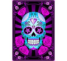 Blue and Purple Sugar Skull with Roses  Photographic Print