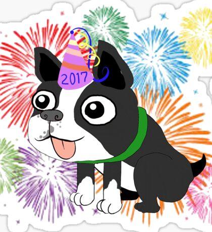 New Year 2017 Boston Terrier, Quincy Sticker