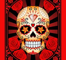 Red Sugar Skull with Roses by Jeff Bartels