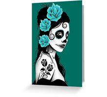 Teal Blue Day of the Dead Sugar Skull Girl Greeting Card