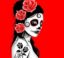 Red Day of the Dead Sugar Skull Girl by Jeff Bartels
