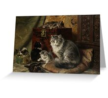 Henriette Ronner-Knip A cat and her kittens at play Greeting Card