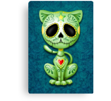 Green Zombie Sugar Kitten Cat Canvas Print