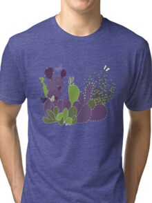 Arizona Cacti and Butterflies Tri-blend T-Shirt