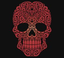 Red Swirling Sugar Skull T-Shirt