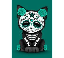 Cute Teal Blue Day of the Dead Kitten Cat Photographic Print