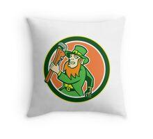 Leprechaun Plumber Wrench Running Circle Throw Pillow