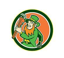 Leprechaun Plumber Wrench Running Circle by patrimonio
