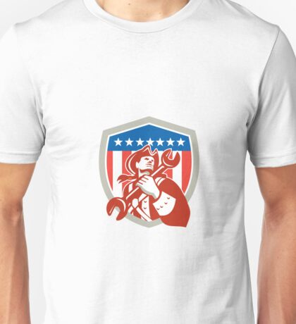 Mechanic American Patriot Holding Spanner Shield Unisex T-Shirt