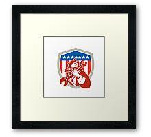 Mechanic American Patriot Holding Spanner Shield Framed Print