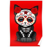 Cute Red Day of the Dead Kitten Cat Poster