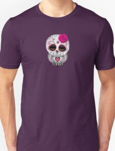 Cute Pink Day of the Dead Sugar Skull Owl Unisex T-Shirt