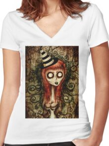 "Tim Burton inspired Pop Surrealism ""Corpse Maiden"" Women's Fitted V-Neck T-Shirt"