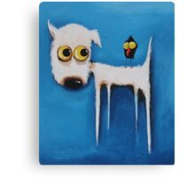 Dog and Crow Canvas Print